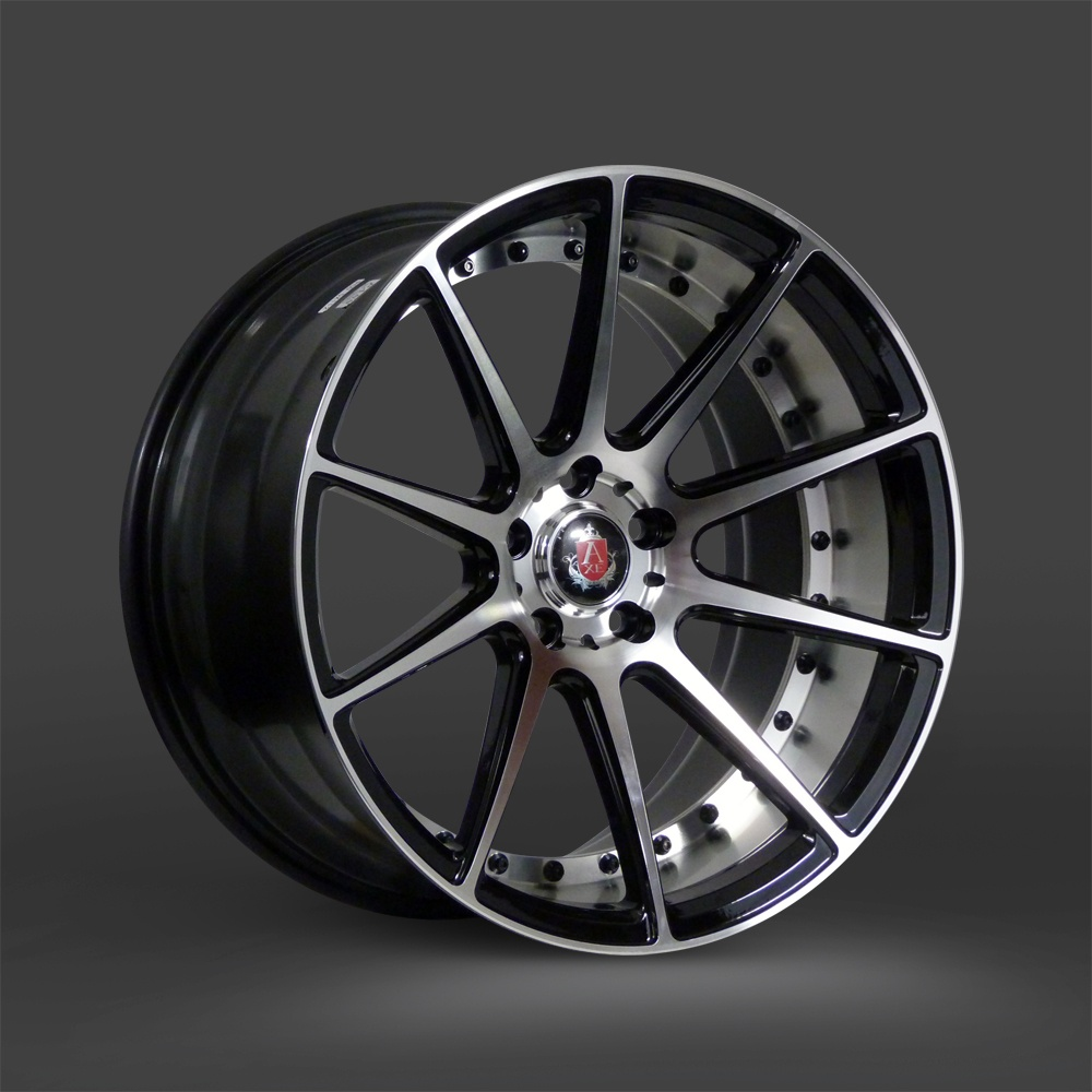"NEW 19"" AXE EX16 DEEP CONCAVE ALLOY WHEELS IN GLOSS BLACK/POLISH WITH WIDER 9.5"" REAR"